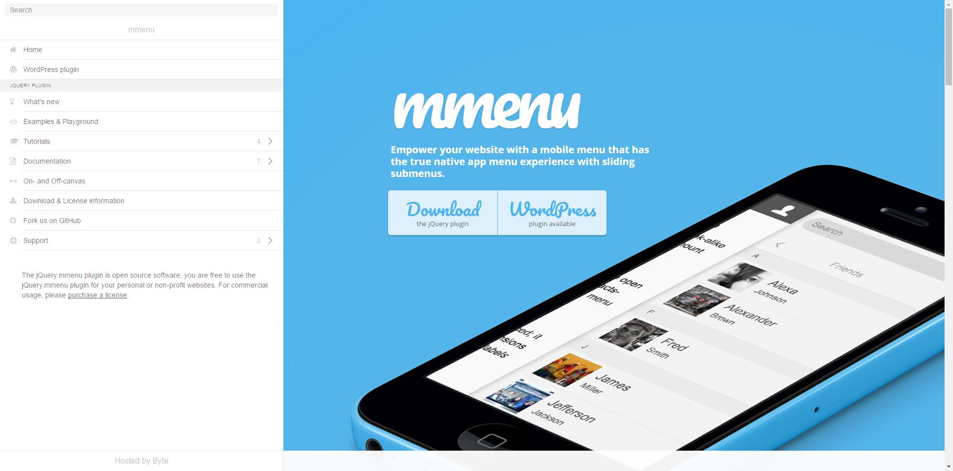 MMENU 공식 홈페이지 스크린샷